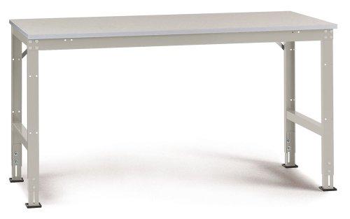 Manuflex Arbeits-Grundtisch UNIVERSAL Standard mit Melaminplatte, BxTxH = 1750x800x760-870 mm