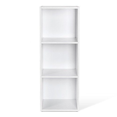 HOMFA Landhaus Bücherregal Bücherschrank 3 Nischen Standregal Aktenregal Bücher Regal Akten Schrank Universal Regal Weiß (Weiß 3 Nischen) (2 Regal Mdf Bücherregal)