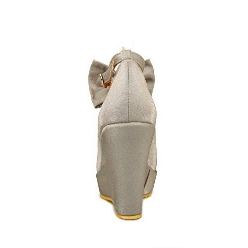 VogueZone009 Femme Rond à Talon Haut Couleur Unie Boucle Chaussures Légeres Argent