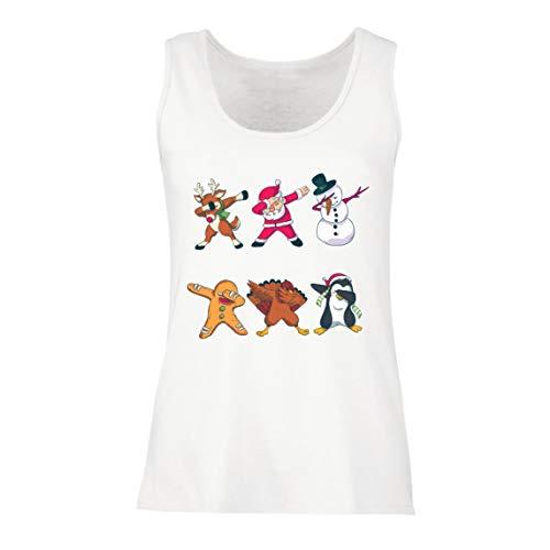 Lepni.me serbatoio,maglietta senza maniche femminile christmas dab - dabbing babbo natale cervo pupazzo di neve (xx-large bianco