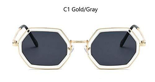 MoHHoM Sonnenbrille Luxus Hexagon Sonnenbrille Italien Marke Retro Gläser Der Berühmtheit Frauen Kleine Quadratische Sonnenbrille Gold Schwarz Grau