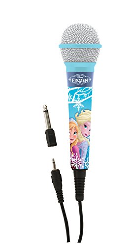 Lexibook Microphone Disney Frozen Elsa, 3,5 Jack and 6,3 mm adapter, High sensitivity, to sing with kids or friends, Blue, MIC100FZ