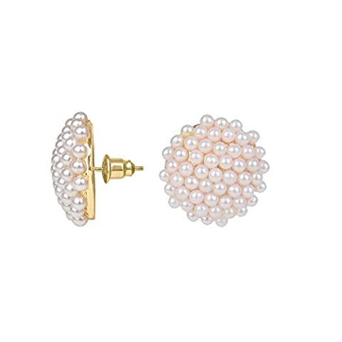 Front Row Cluster Glass Seed Pearl Earrings
