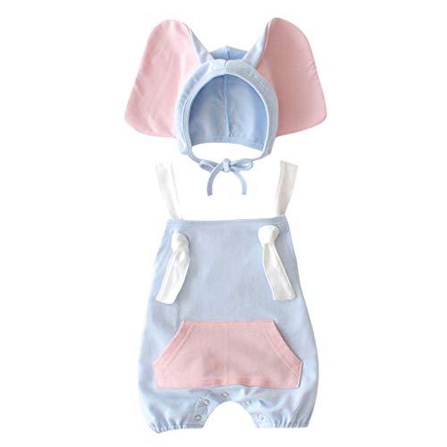 LABIO Neugeborener Baby Overall Modischen Nähten Ärmelloser Jumpsuit+Cartoon Elephant Hat Costume Set Baby Schlafanzug(Blau,3-6 ()