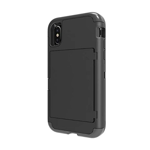 iPhone X Card Holder Kickstand Coque, Lantier Built-In Mirror Dual Layer Defense Wallet High Impact Shock Absorbing Hard PC Soft TPU Hybrid Protective Cover Case pour Apple iPhone X Or rose