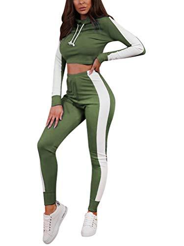 Yoga Crop Legging (Minetom Damen Sportanzüge Jogginganzug Sport Sets Hosen und Crop Top Kapuzenpullover Hoodie Bekleidungssets Langarm Yoga Outfit Streifen Jogginghose Leggings Armeegrün DE 36)