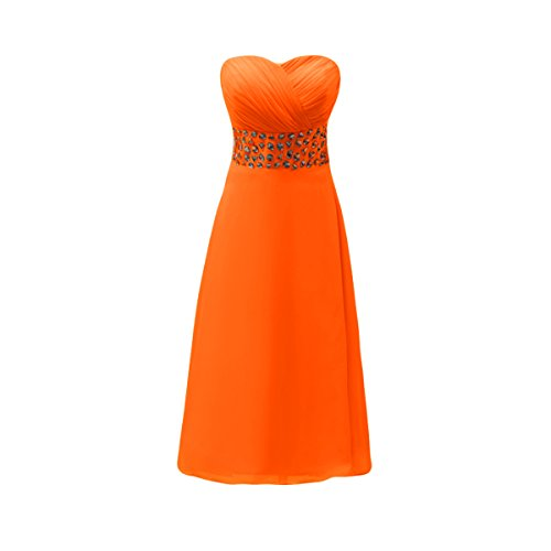 Bridal_Mall - Robe - Trapèze - Sans Manche - Femme Orange - Orange