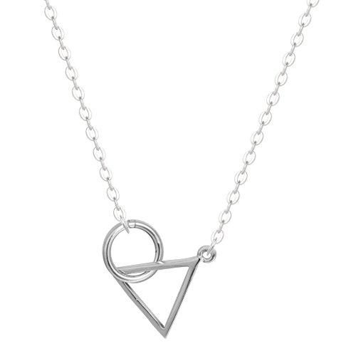 Valentine's Day Gifts Halskette, 925er-Sterlingsilber, Kreis- und Dreieck-Motiv