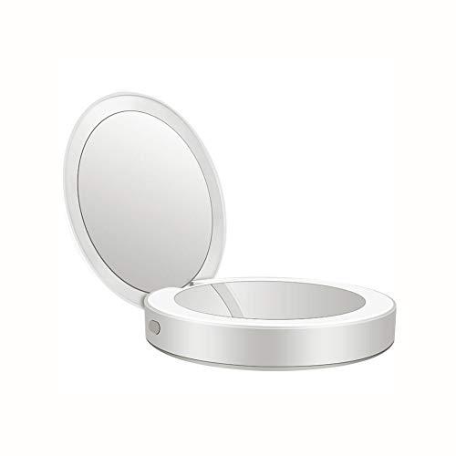 XIONGDA Multifunktions-LED beleuchteter Reiseschminkspiegel 2 in 1 kompaktes tragbares 1X / 3X Vergrößerungs-Tageslicht-Fülllicht Wiederaufladbar Perfekt für Taschen und Handtaschen,White - Schätze Eitelkeit Bank
