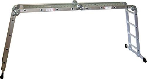 Alu-Gelenkleiter / Arbeitsleiter 4x4 Stufen / Sprossen mit Plattform 460 cm, Aluminium, Marke: Szagato (Stehleiter, Anlegeleiter, Aluleiter, Kombileiter, Leiter)