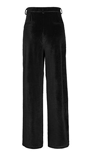 Damen Hose Vogue Samt Solid Palazzo Pant Black