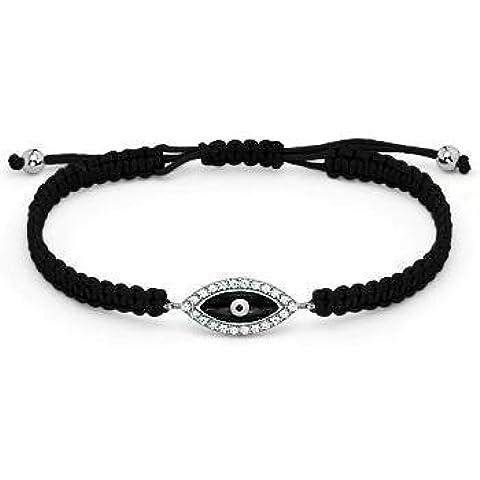 Plata de ley cz y esmalte mal de ojo pulsera de macramé y (ajustable), color negro