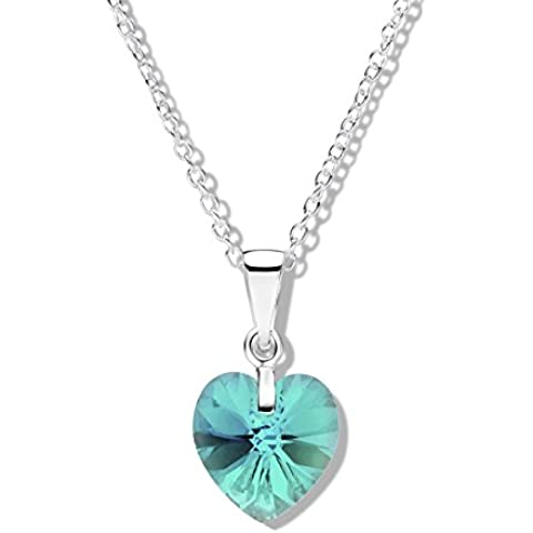 Jo for Girls-Ciondolo in argento Sterling con zirconi blu, modello Aurora Borealis, cristalli Swarovski, a forma di cuore, lunghezza 41 cm