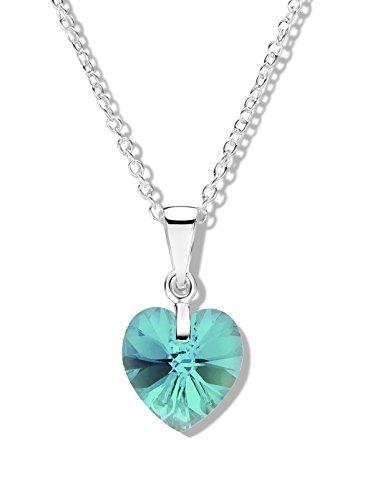 Jo for Girls-Ciondolo in argento Sterling con zirconi blu Aurora Borealis e cuore in cristallo Swarovski, lunghezza 36 cm