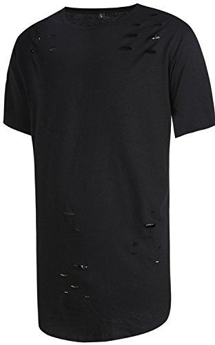 Pizoff Unisex Hip Hop Urban Superlanges T-Shirt in stark zerschlissener Optik und mit rundem Saum Y1725-Black-S (Hip Hop Schwarzes T-shirt)