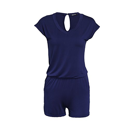 SUNNOW Combishort Femme Sexy Casuel Romper Jumpsuit d'été Short Femme Chic Combinaisons Short - sans Ceinture (XL (EU 46), Blanc)