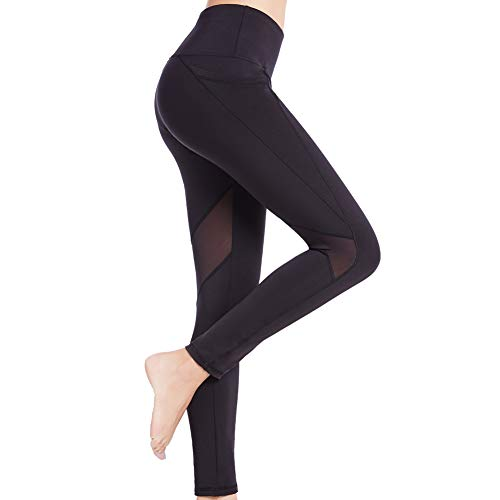 SEYO Sport Leggings Damen Yogahose Leggins Hoher Bund Sporthose Blickdicht Leggings 3/4 Tasche Fitnesshose Lang (Schwarz-Mesh/L, X-Large)