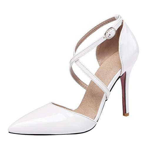 iYmitz Sommer Elegant Sandaletten Damen Hochhackig Kreuzgurte Spitz Patent Leder Sandalen Beiläufig High Heel Stiletto Mädchen Schuhe(Weiß,EU 36)