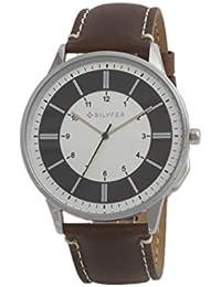 Reloj Bilyfer para Hombre con Correa Marron y Pantalla en Blanco y Negro 2W436-M