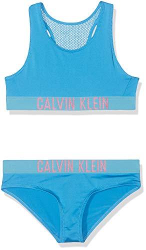 Calvin Klein Mädchen Bralette Set Badebekleidungsset, Blau (Malibu Blue 419), 140 (Herstellergröße: 10-12) Kleine Mädchen Set