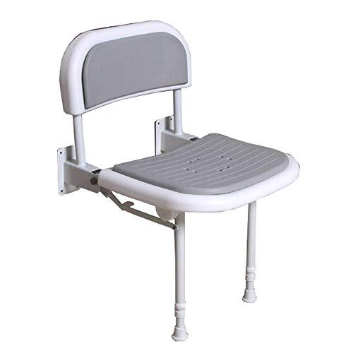 OOFAYWFD Duschhocker Duschstuhl Falten Sie Badezimmer-Stuhl-Wand angebrachte Duschbank, Mit Beinen und Rücken, 6 Stufen verstellbare Duschbank, bis 250kg