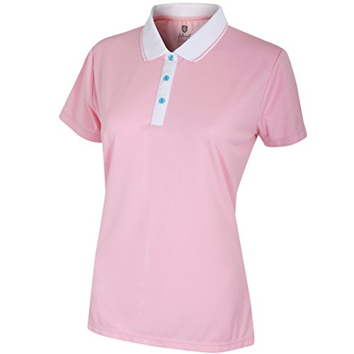 Island Green Insel grün Damen iglts1808Damen Kontrast Knopfleiste Polo Shirt L Candy pink -