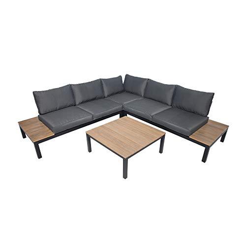 Riess Ambiente Große Garten Sitzgruppe Miami Lounge XL schwarz anthrazit Gartenmöbel inkl. Tisch und Kissen Loungemöbel Outdoor Wetterfest