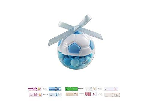 Scatoline portaconfetti pallone da calcio 24 pz tk-0845 + nembo + nastrino+ bigl (bianco/azzurro)