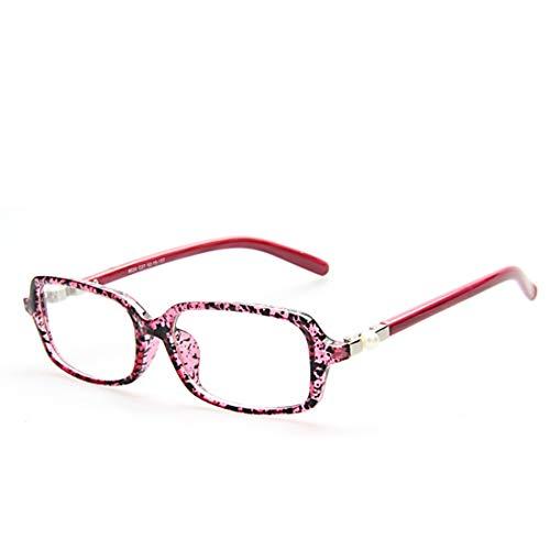 Shiduoli Klassische kleine Rahmen Flache Brille Student Brille Schwarze Brille Brillengestelle für Frauen Brillengestelle Männer Nicht verschreibungspflichtige Brille (Color : Red)