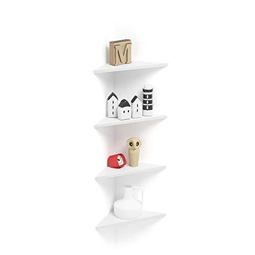 Mobilifiver set di 4 mensole ad angolo easy, bianco frassino, 35 x 35 x 49 cm, nobilitato, made in italy