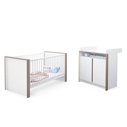 Babyzimmer Kinderzimmer Komplett Set Nandini Set 2 in Weiß matt mit Blenden in Mocca