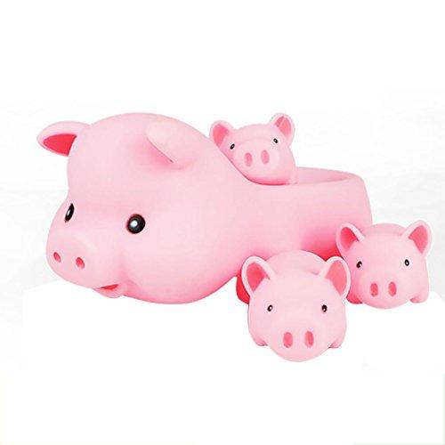 Koly Carrera de la mamá y del bebé caucho chillón de la familia del cerdo de baño juego de niños Juguetes