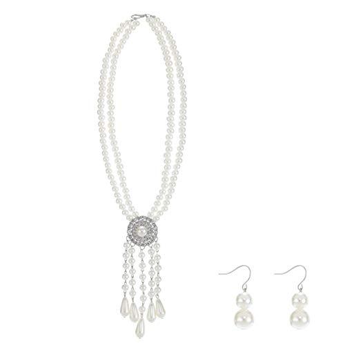 Metme 20er Jahre Flapper Faux Perle Anhänger Halskette Ohrringe Schmuck Sets für Damen (Weiß)