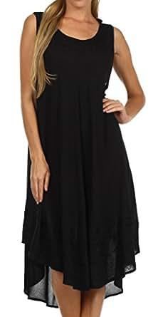 Sakkas 1051 Everyday Essentials Caftan Dress/Cover Up - Black - One Size