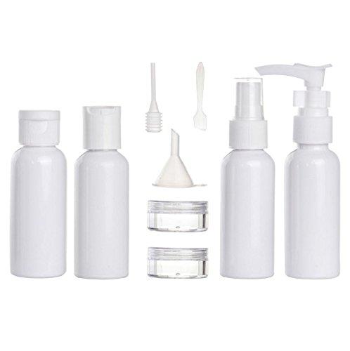 Conjunto de botella Sannysis botes de viaje silicona, botes de viaje avion compresible 9PCS Color aleatorio 50ml (Blanco)