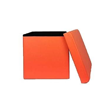 Zedelmaier Sitzhocker Sitzwürfel mit Stauraum Fußbank Truhen Aufbewahrungsbox faltbar belastbar bis 300 kg, Deckel abnehmbar, 38 x 38 x 38 cm (Orange)