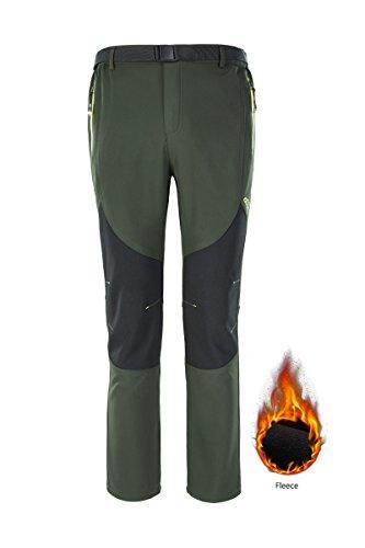 Pantaloni sportivi invernali invernali invernali Pantaloni impermeabili sci escursionismo pantaloni pantaloni tuta con fondo tasca verde