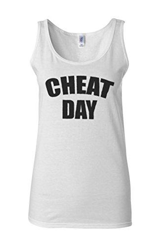 Cheat Day Diet Food Novelty White Femme Women Tricot de Corps Tank Top Vest **Blanc