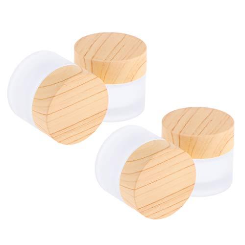 B Blesiya 4 Stück 10g Glas-Tiegel Leere Creme Glas-Dose, Salbentiegel, Kosmetik-Dose Kosmetik Behälter mit Holz Schraubdeckel