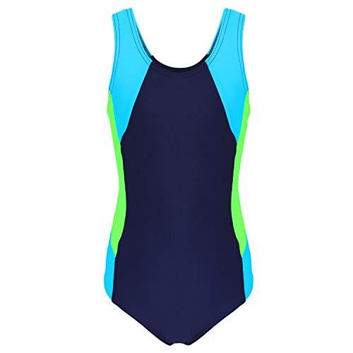 Aquarti Mädchen Badeanzug mit Ringerrücken, Farbe: Dunkelblau/Neongrün/Hellblau, Größe: 134