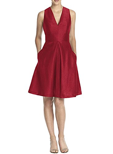 Azbro Women's V Neck Sleeveless Cocktail Dress with Pockets Burgundy