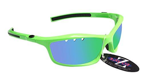 RayZor Professional leichte UV400grün Sports Wrap Running Sonnenbrille, mit einem belüfteten grün Iridium verspiegelt Blendfreie Objektiv