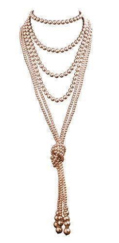 Prohibition Kostüm 1920er - 1920er-Jahre-Perlen-Halskette, modische Kunstperlen, Gatsby-Accessoires, Vintage-Kostüm-Schmuck, cremefarben, Lange Halskette für Frauen - - Normal