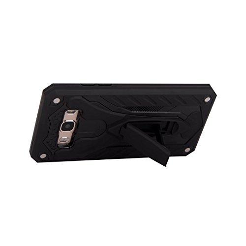 EKINHUI Case Cover Neue Hybrid-Rüstungsschutz-Rückseiten-Abdeckung Shockproof Doppelschicht PC + TPU rückseitige Abdeckung mit Kickstand für Samsung-Galaxie J5 2016 ( Color : Silver ) Black