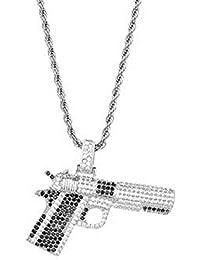 MCSAYS Hip Hop Bijoux pour Homme en cuivre Zircon personnalité Bling Pendentif  Pistolet Collier 654f1d3ef470