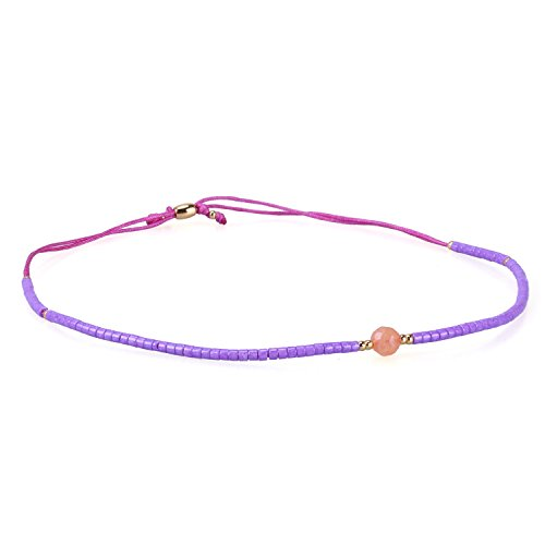 KELITCH Armband Damen Frauen Lila Rocailles Perlen Rosa Zart Schnur Freundschaftsarmbänder mit Orange Achat Strangarmband Armbänder Männer