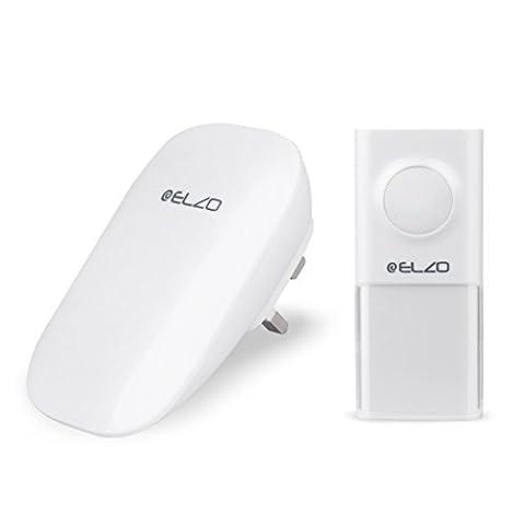 Elzo [Battery Free Kinetic & 150m Range] Wireless Doorbell, Plugin Door Chimes/Bells/Recievers, Self Powered IP55 Water Resistant Push-Button/Transmitter - 25 musical tones & 3 Volume Levels