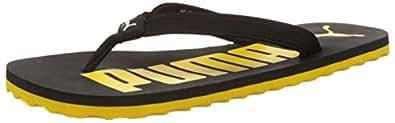 Puma Men's White Dark Shadow, Puma Black and Dandelion Flip Flops Thong Sandals - 11UK/India (46 EU)