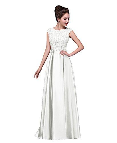Beauty-Emily Hochzeitskleider Junge Damen Vintage Maxi Günstig Taft Bowknot V Rückenfrei Strass a...