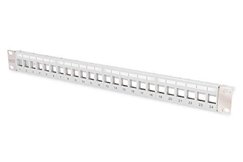 DIGITUS Patch-Panel Modular - 24 Ports - 1HE - Logofelder - Geschirmt - Für Keystone-Module - 19 Zoll Rack - Grau
